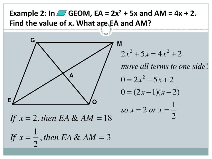 Example 2: In       GEOM, EA = 2x