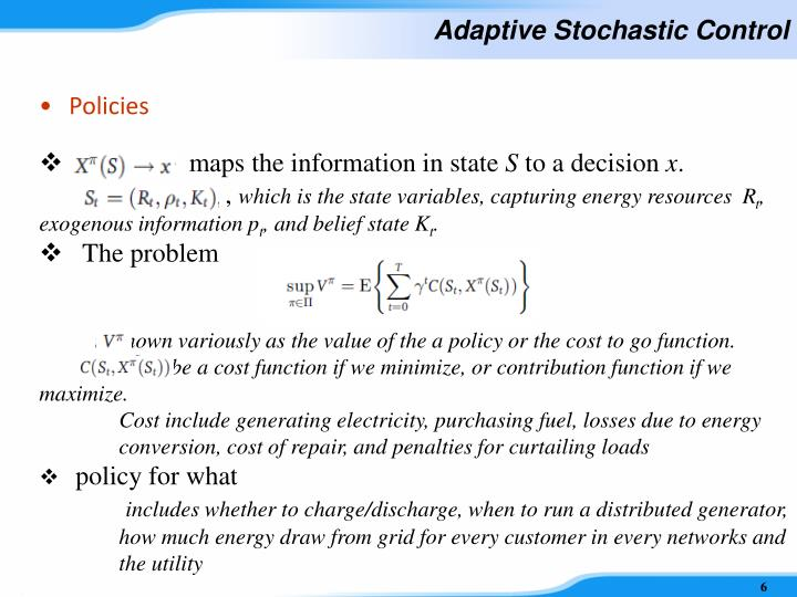 Adaptive Stochastic Control