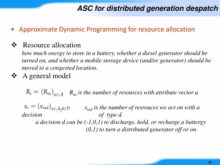 ASC for distributed generation despatch