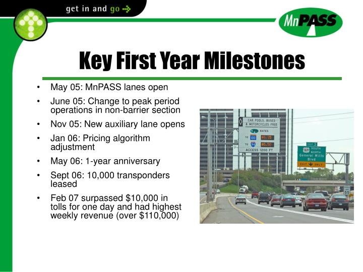 Key First Year Milestones
