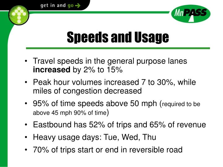 Speeds and Usage