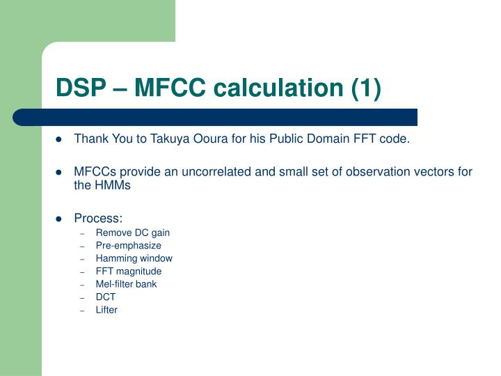 DSP – MFCC calculation (1)