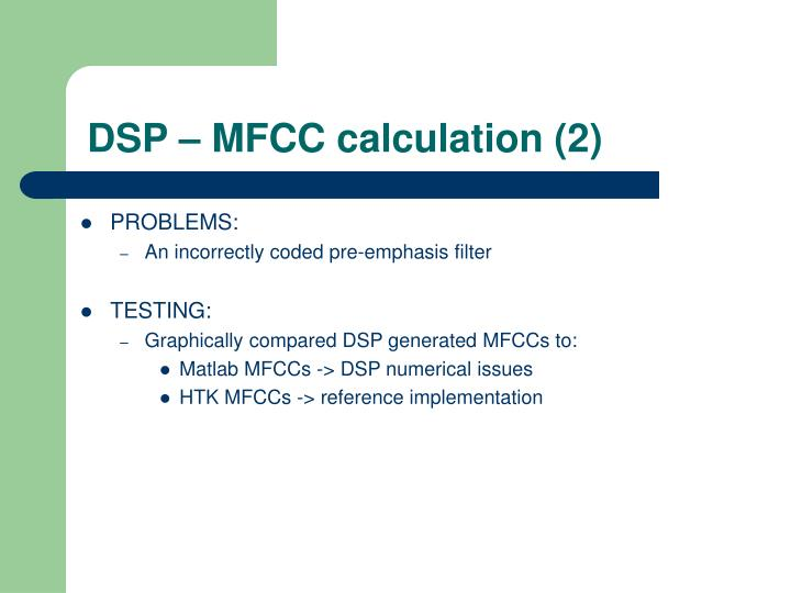 DSP – MFCC calculation (2)