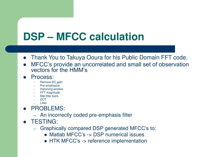 DSP – MFCC calculation