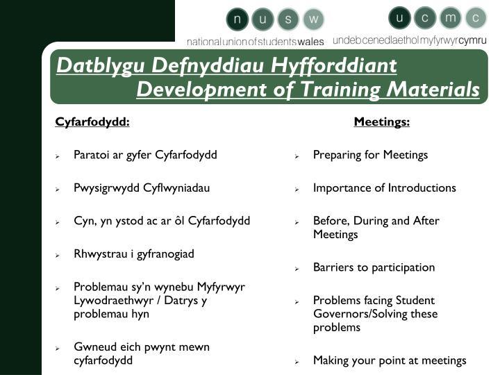 Cyfarfodydd: