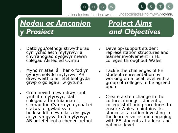 Nodau ac amcanion project aims y prosiect and objectives