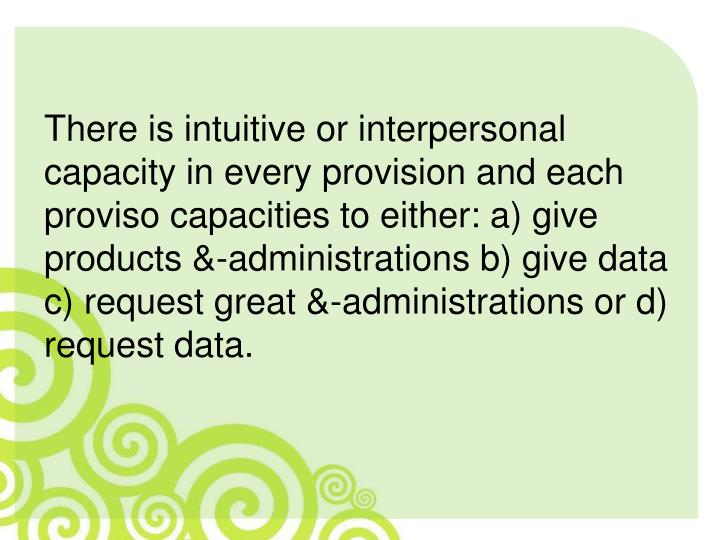 There is intuitive or interpersonal capacity in every provision and each proviso capacities to either: a) give products &-administrations b) give data c) request great &-administrations or d) request data.