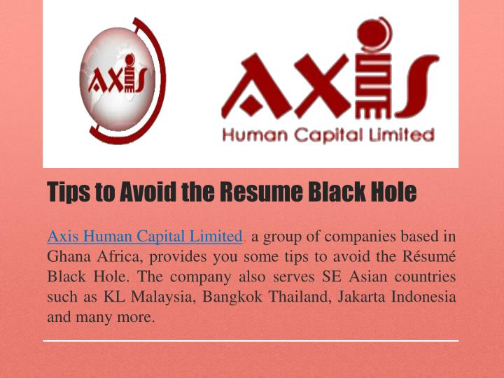 Tips to avoid the resume black hole