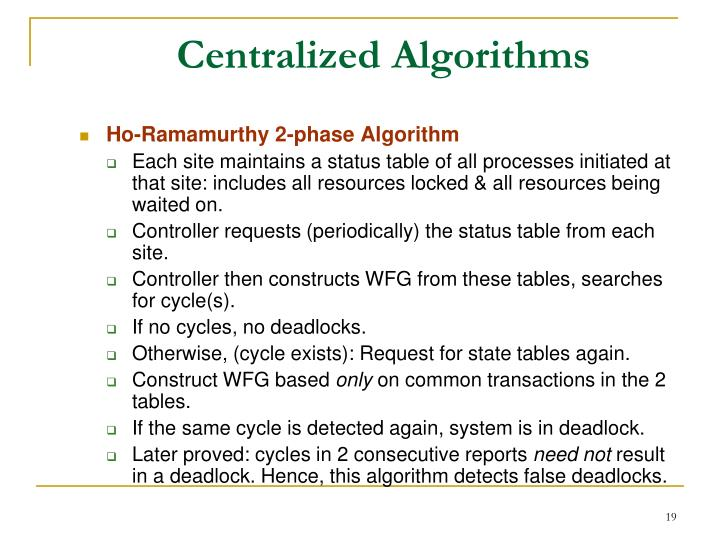 Centralized Algorithms