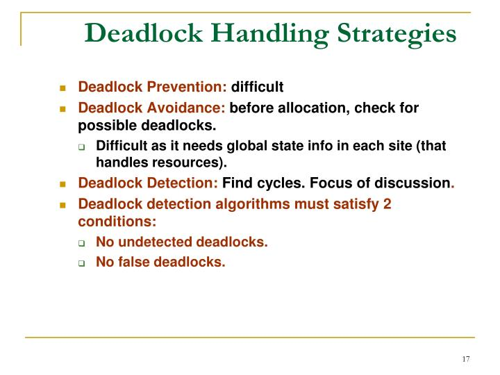 Deadlock Handling Strategies