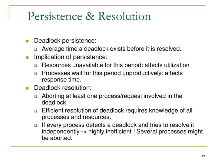 Persistence & Resolution