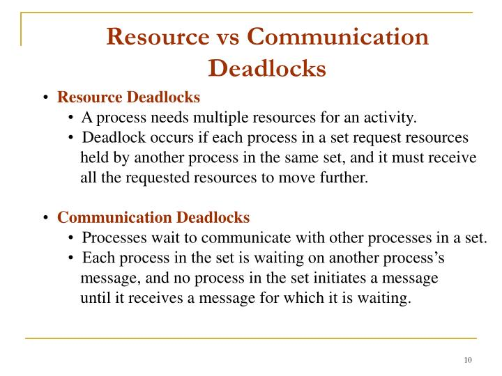 Resource vs Communication Deadlocks