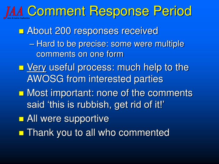 Comment Response Period
