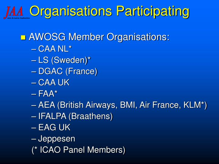 Organisations Participating
