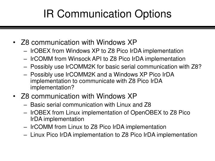 IR Communication Options
