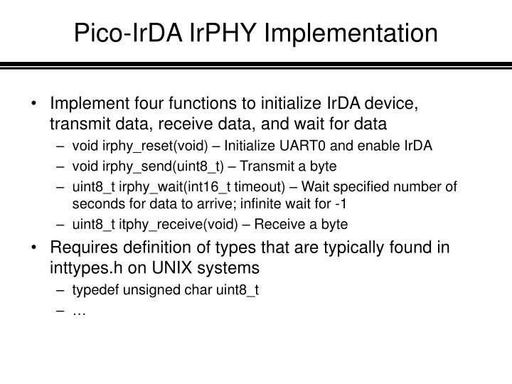 Pico-IrDA IrPHY Implementation