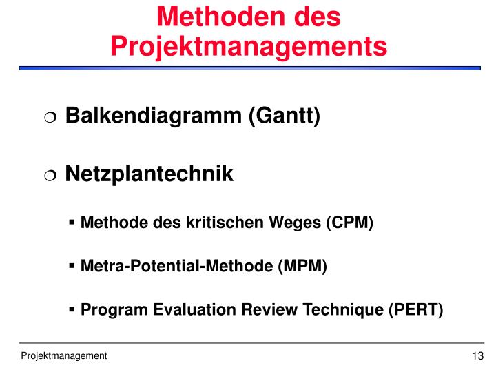 Methoden des Projektmanagements