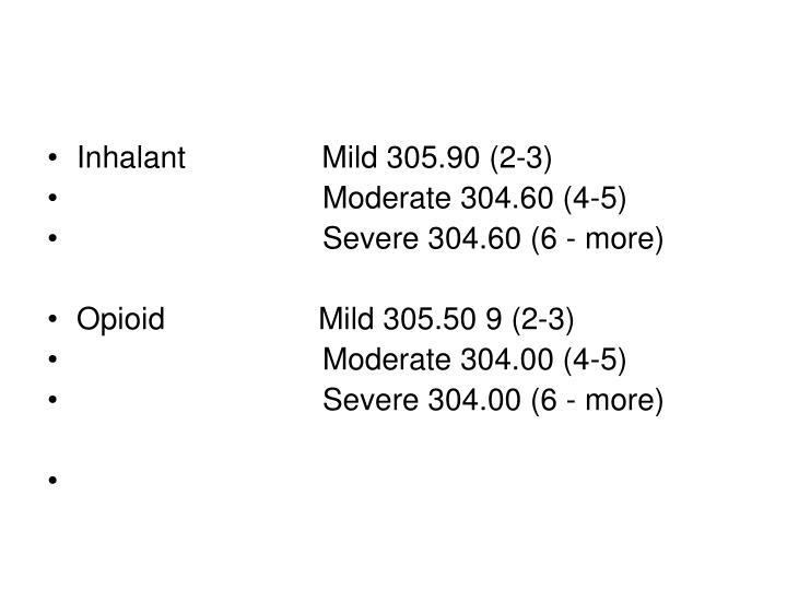 Inhalant                Mild 305.90 (2-3)