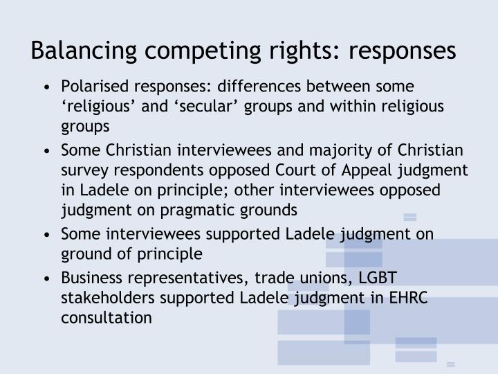Balancing competing rights: responses