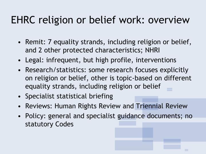EHRC religion or belief work: overview