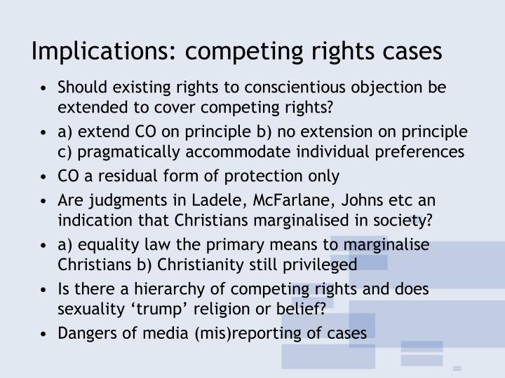 Implications: competing rights cases