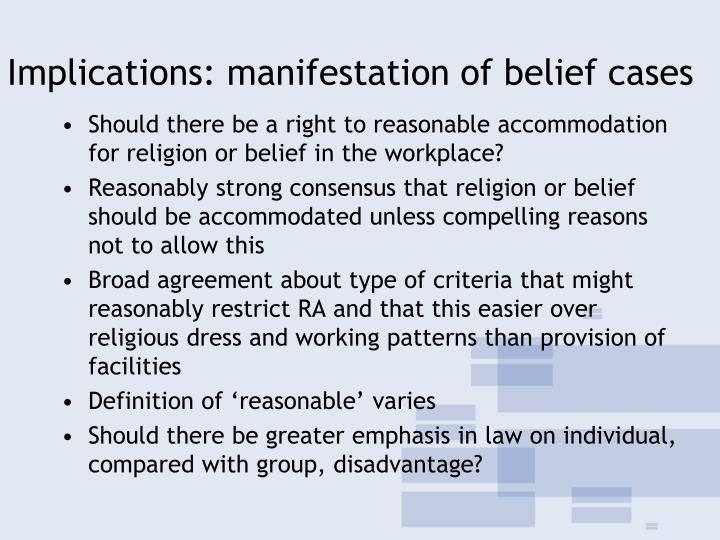 Implications: manifestation of belief cases