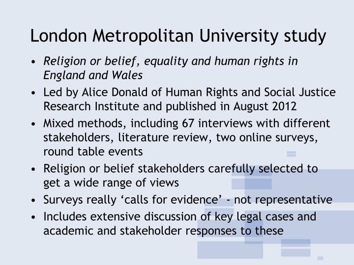 London Metropolitan University study