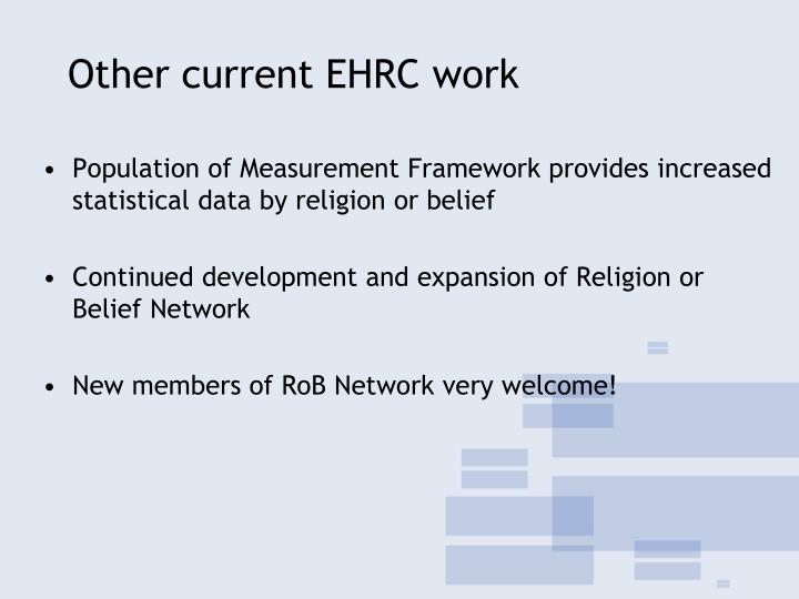 Other current EHRC work