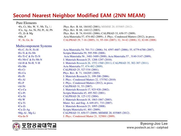 Second Nearest Neighbor Modified EAM (2NN MEAM)