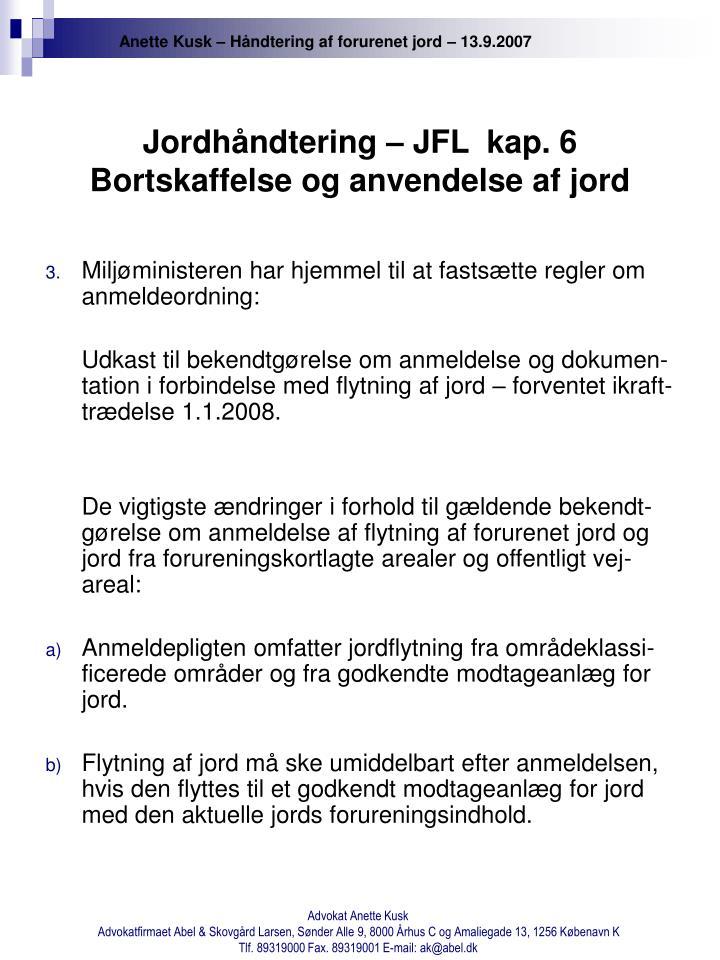 Jordhåndtering – JFL  kap. 6 Bortskaffelse og anvendelse af jord