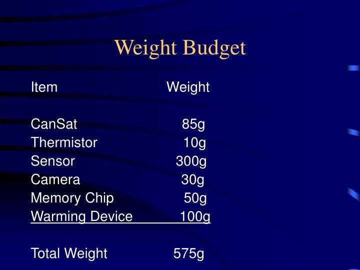 Weight Budget