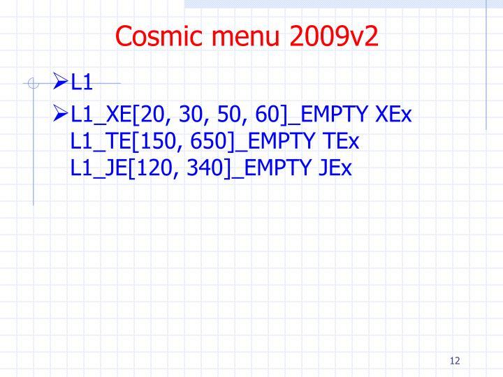 Cosmic menu 2009v2