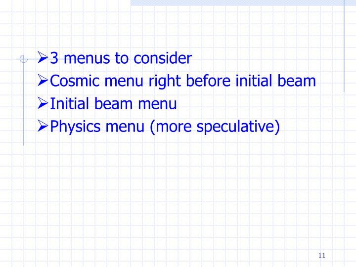 3 menus to consider