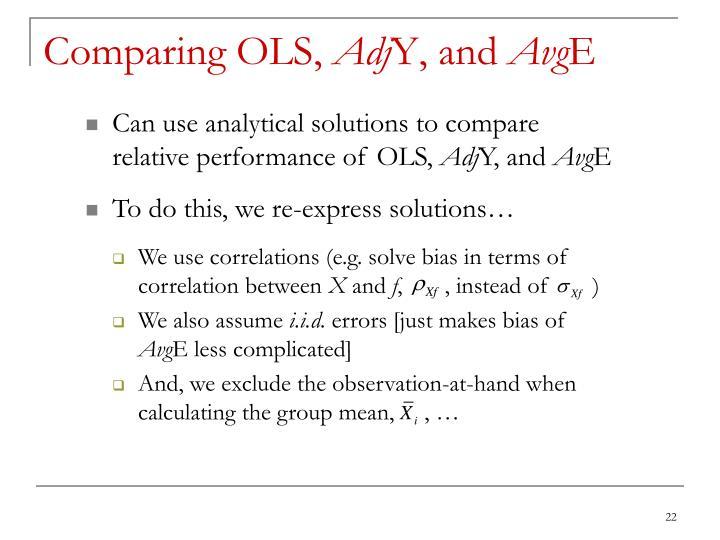 Comparing OLS,