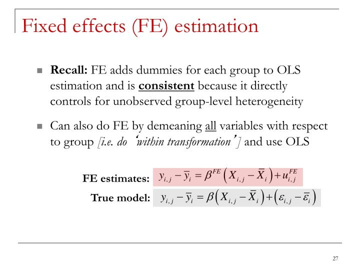 Fixed effects (FE) estimation