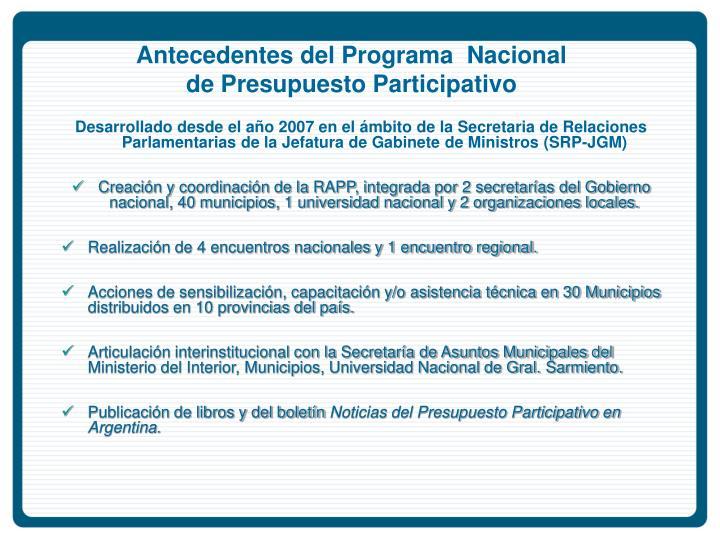 Antecedentes del Programa  Nacional