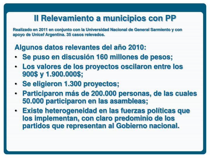 II Relevamiento a municipios con PP