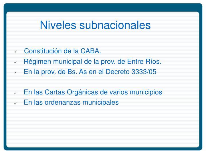 Niveles subnacionales