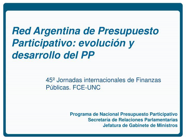 Red Argentina de Presupuesto Participativo: evolución y desarrollo del PP
