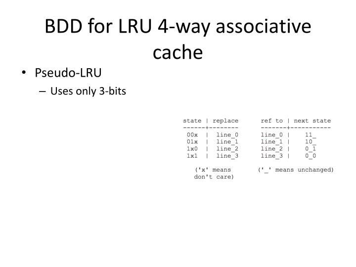 BDD for LRU 4-way associative cache