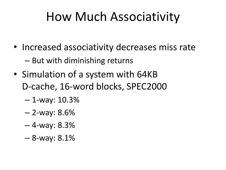 Increased associativity decreases miss rate
