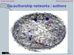 co authorship networks authors