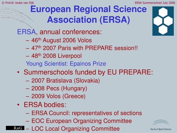 European Regional Science Association (ERSA)