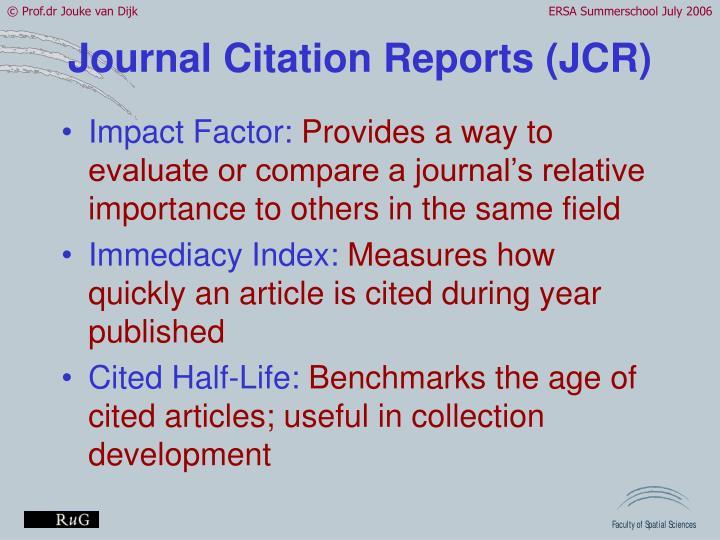 Journal Citation Reports (JCR)