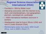 regional science association international rsai