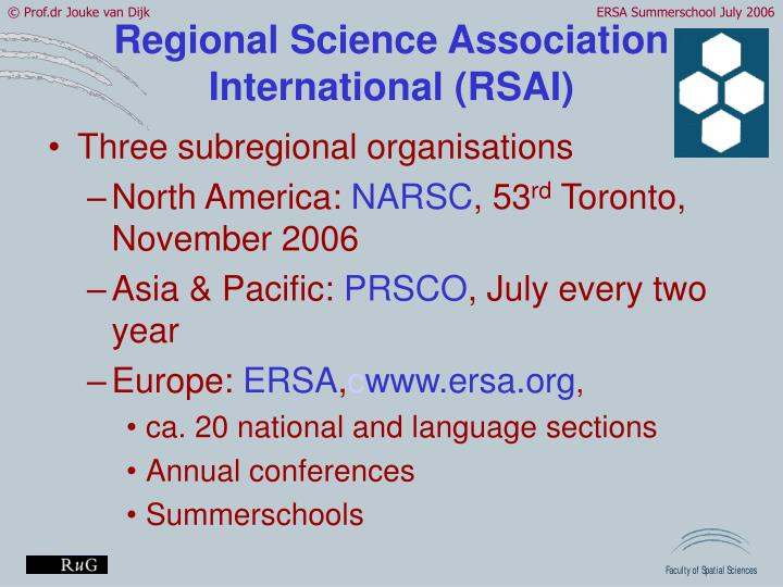 Regional Science Association International (RSAI)