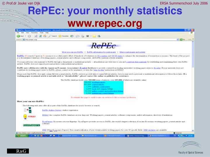RePEc: your monthly statistics