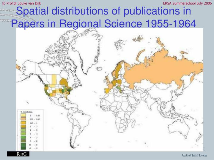 Spatial distributions of publications in Papers in Regional Science 1955-1964