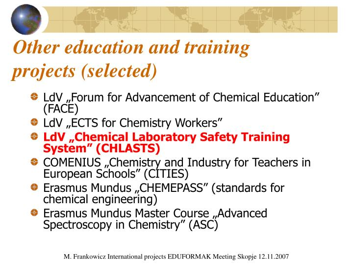 Other education and training projects (selected)