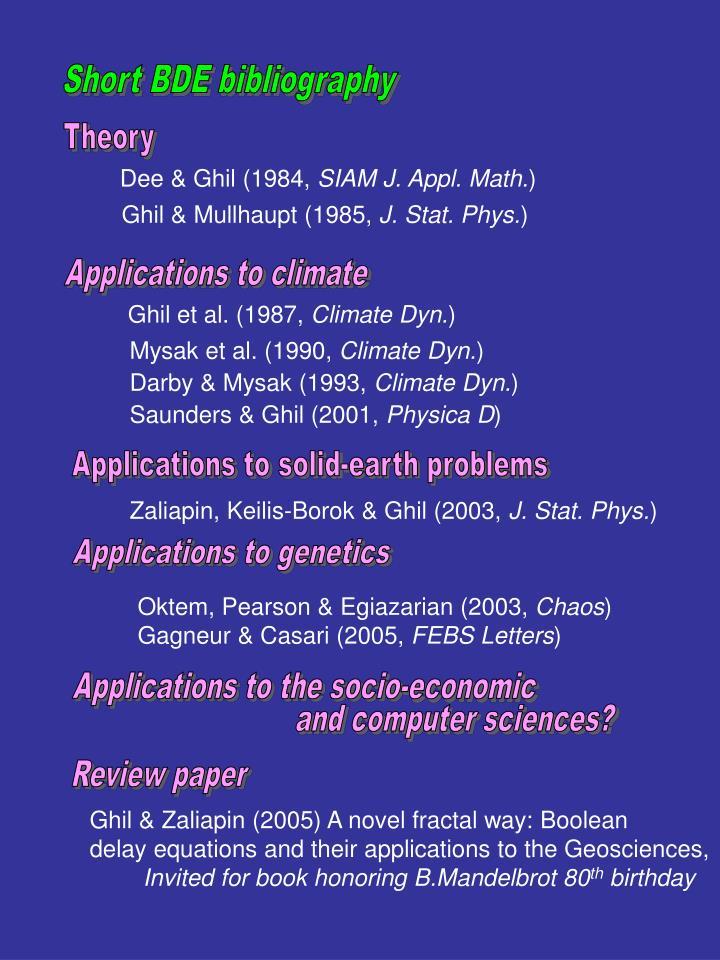 Short BDE bibliography